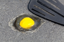 Egg on hot road surface beginning to fry